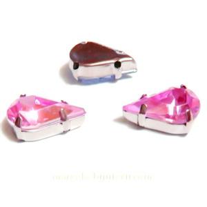 Margele montee rhinestone, plastic, roz inchis, lacrima 13x8x5mm 1 buc