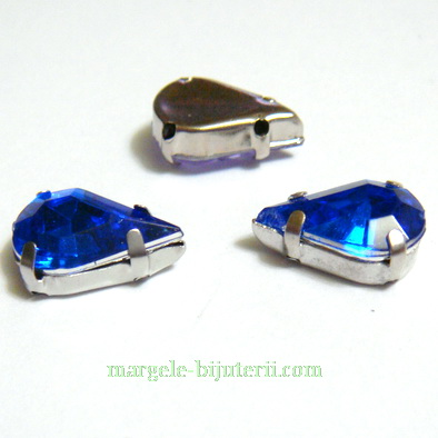 Margele montee rhinestone, plastic, albastre, lacrima 13x8x5mm 1 buc
