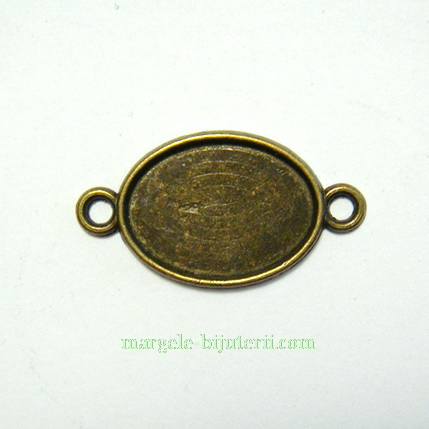 Conector / link cabochon, bronz, 28x15x1.8mm, interior: 18x13mm 1 buc