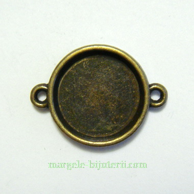 Conector / link cabochon, bronz, 26x16mm, interior: 14mm 1 buc