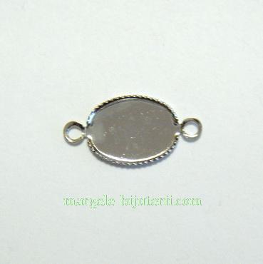 Conector / link cabochon, argintiu, 10x8mm 1 buc