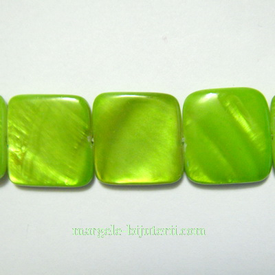 Perle sidef, plate, verde deschis, patrat 15x15x3mm 1 buc