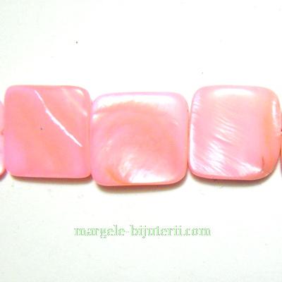 Perle sidef, plate, roz, patrat 15x15x3mm 1 buc