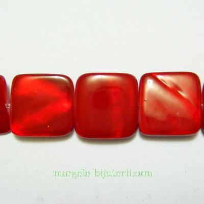 Perle sidef, plate, rosii, patrat 15x15x3mm 1 buc