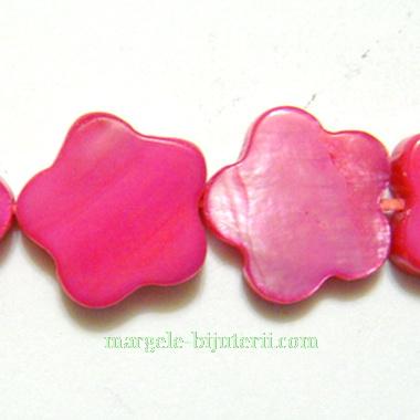 Flori sidef rosii, 13x3mm 1 buc