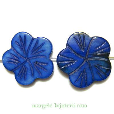 Flori sidef, cu 5 petale, bleumaren, 18x3mm 1 buc