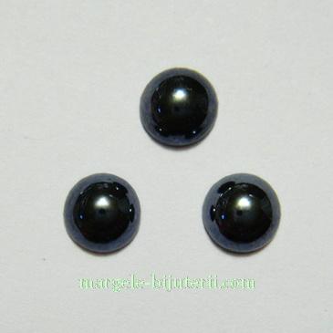 Cabochon sticla, negru, sidefat, 7x3mm 1 buc