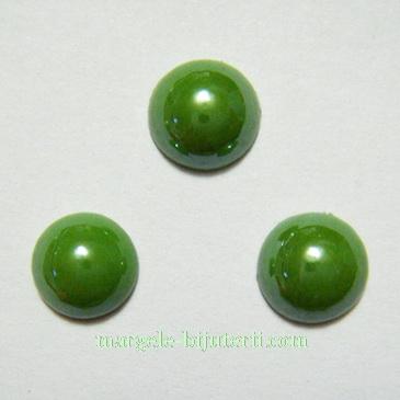 Cabochon sticla, verde, sidefat, 8x4mm 1 buc