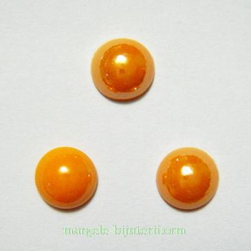 Cabochon sticla, portocaliu, sidefat, 8x4mm 1 buc