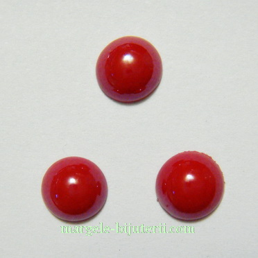 Cabochon sticla, rosu, sidefat, 8x4mm 1 buc