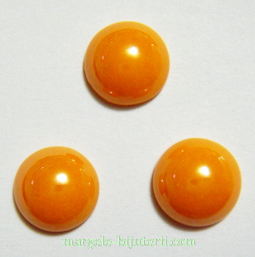 Cabochon sticla, portocaliu deschis, sidefat, 9.5x4mm 1 buc