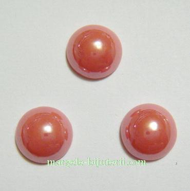 Cabochon sticla, roz-somon, sidefat, 9.5x4mm 1 buc
