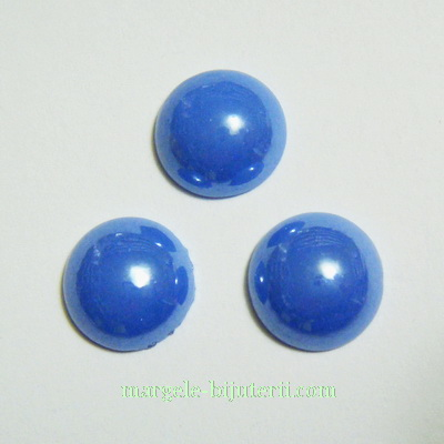 Cabochon sticla, albastru, sidefat, 11.5x5mm 1 buc