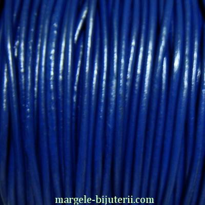Snur piele naturala, albastru inchis, 2mm 1 m