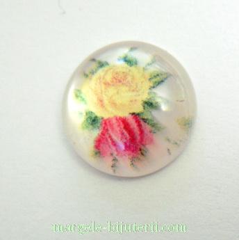 Cabochon din rasina, flori galbene si roz, 12x4mm 1 buc