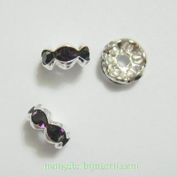 Rhinestone violet, pe baza argintie, 8x4mm 1 buc