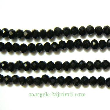 Margele sticla, multifete, negre, 4x3mm 10 buc