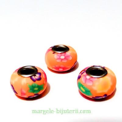 Margele tip Pandora din fimo, portocalii cu flori, 10x16mm 1 buc