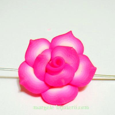 Margele polymer, floare fucsia-inchis cu alb, 20x20x10mm 1 buc
