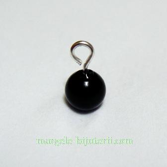 Perle sticla, semigaurite, negre, 6mm 1 buc
