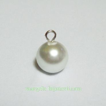 Perle sticla, semigaurite, albe, 8mm 1 buc