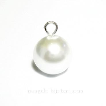 Perle sticla, semigaurite, albe, 10mm 1 buc