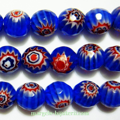Margele sticla Millefiori, multifete, albastre, 7.5mm 1 buc