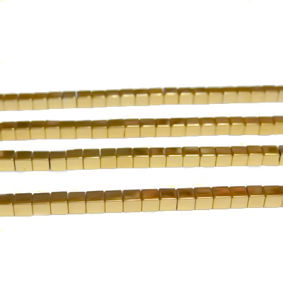 Hematite nemagnetice, aurii, mate, placate, cub 2.3x2.3mm 1 buc