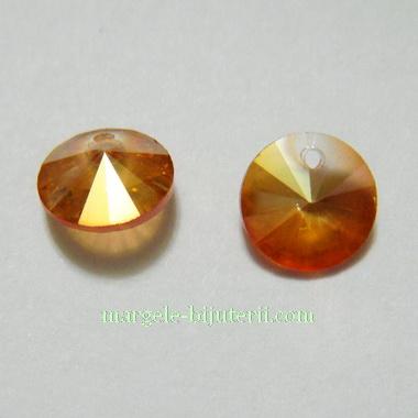 Pandantiv sticla, rivoli, auriu-roscat, AB, 8mm 1 buc