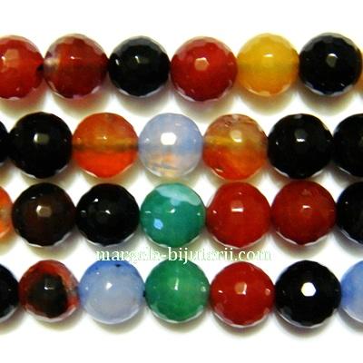 Agat multicolor, multifete, 8.2 mm  - cca 46 buc 1 sir 38 cm