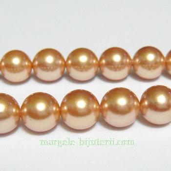 Perle stil Mallorca, maro-auriu, 8mm 1 buc