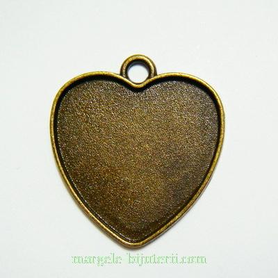 Baza cabochon, bronz, inima 27x27mm, interior 25mm 1 buc