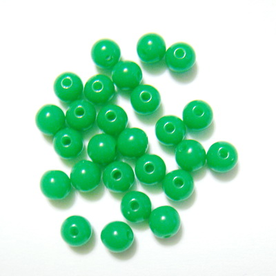 Margele plastic, sferice, verzi, 6mm 10 buc