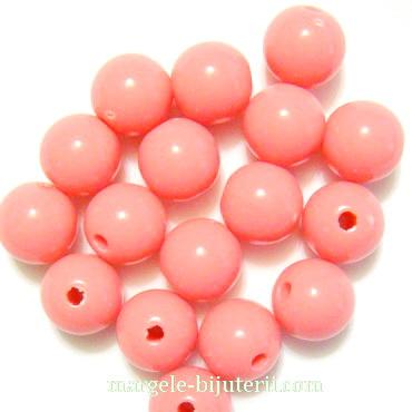 Margele plastic, sferice, roz, 8mm 10 buc