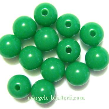Margele plastic, sferice, verde, 8mm 10 buc
