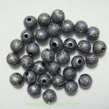 Margele plastic, stardust, gri, 6mm 10 buc