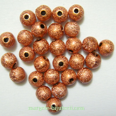 Margele plastic, stardust, maro-roscat, 6mm 10 buc