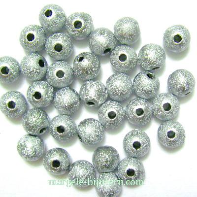 Margele plastic, stardust, argintiu inchis, 8mm 10 buc