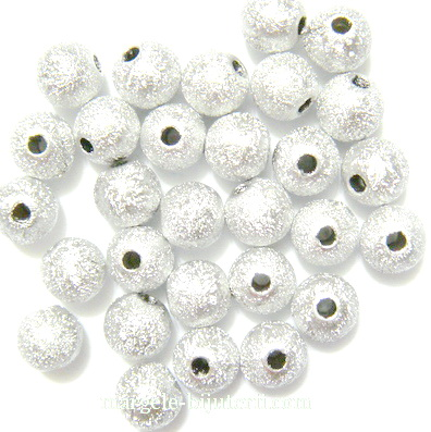 Margele plastic, stardust, argintii, 8mm 10 buc