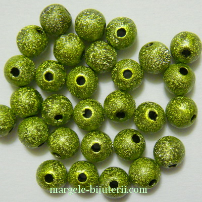 Margele plastic, stardust, verde-kaky, 8mm 10 buc