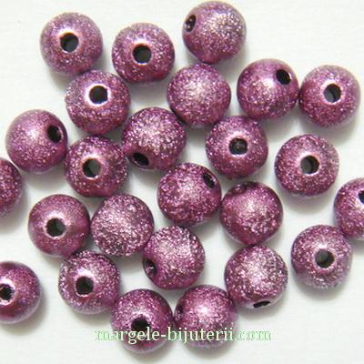 Margele plastic, stardust, violet, 8mm 10 buc