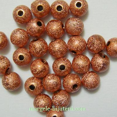 Margele plastic, stardust, maro-roscat, 8mm 10 buc