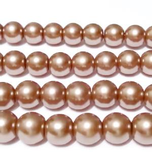 Perle sticla, maro-auriu, 8mm 10 buc