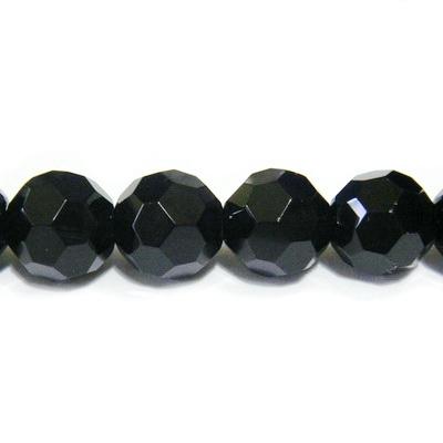 Margele cristal negre, multifete, 8mm 1 buc