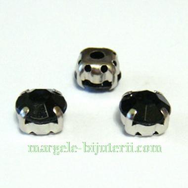Margele montee rhinestone, plastic, negre, 8x8x6mm 1 buc