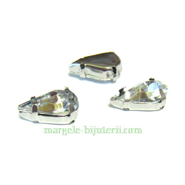 Margele montee rhinestone, plastic, transparente, lacrima 10x6x5mm 1 buc