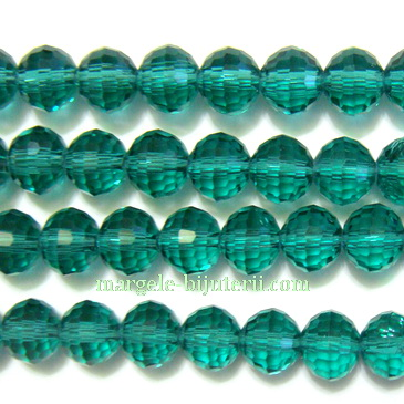 Margele sticla, multifete, verzi, transparente 8x7 mm 1 buc