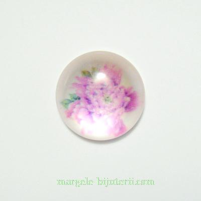 Cabochon din rasina, floare roz-fucsia, 20x6mm 1 buc