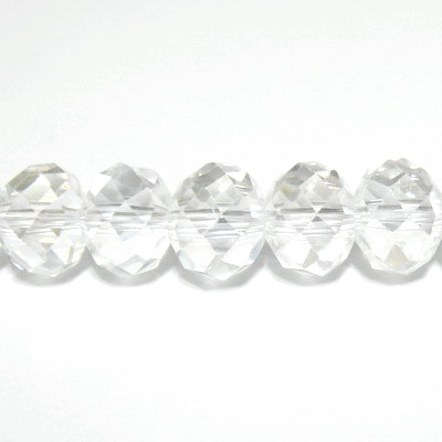 Margele sticla, multifete, transparente, 10x7mm 1 buc