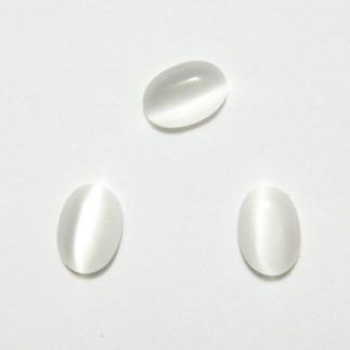 Cabochon ochi de pisica, alb, 7x5x2mm 1 buc